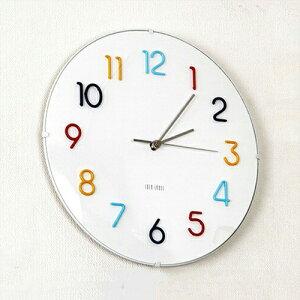 掛け時計 エンボスデザイン ラウンドウォールクロック アナログ インテリア カラフル おしゃれ プレゼント デザイン