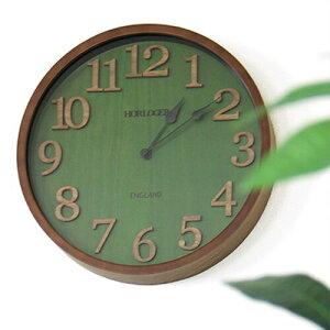 【送料無料】電波時計イングランドインターフォルム【掛け時計時計掛時計壁掛け時計アナログおしゃれ北欧テイスト木製ギフト壁掛け電波時計緑グリーン和モダンブランドウッド調インテリア時計壁時計CL-7542新築祝いプレゼント】