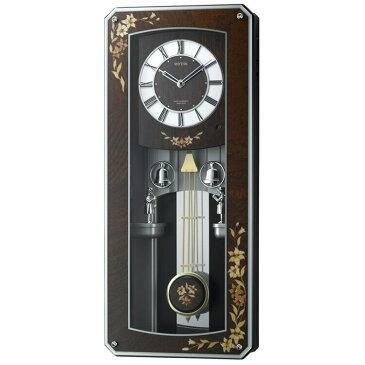 【送料無料】電波時計 プライムメネット 4MN518RH06 リズム時計【掛け時計 掛時計 時計 壁掛け 電波 おしゃれ 壁掛け時計 ラクジュアリー 高級 報時 モダン からくり時計 からくり メロディ 音楽 壁掛け電波時計 百合 ウォールクロック】