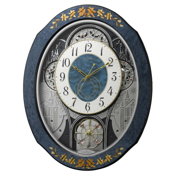 壁掛けフック特典有★電波時計 プライムウィーブ 4MN527RH04 リズム時計【からくり からくり時計 掛け時計 時計 おしゃれ 壁掛け電波時計 電波壁掛け時計 壁掛け時計 ラクジュアリー 高級 報時 モダン メロディ 音楽 ウォールクロック ギフト プレゼント】:インテリア時計のクロックラック