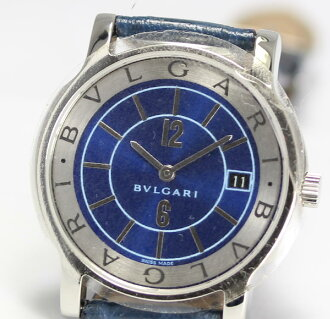 ☆ beauty products Bulgari solo tempo ST35S blue character Edition JAL limited quartz leather belts mens watch box with warranty certificate