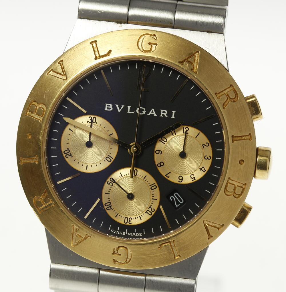 44650007e830 BVLGARI】ブルガリ ディアゴノスポーツ CH35SG クロノ クォーツ メンズ ...