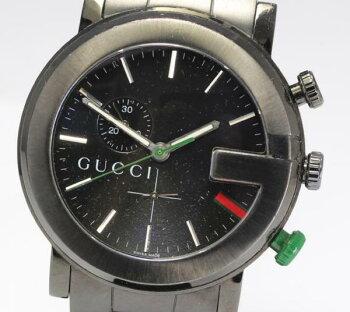 【GUCCI】グッチ101MchronoQZブラックメンズ腕時計☆【】
