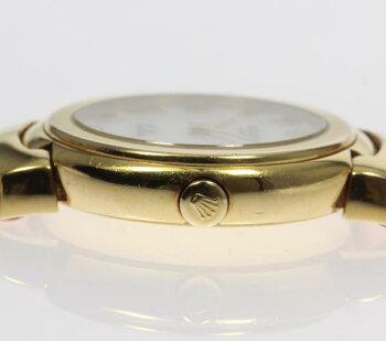 ロレックスチェリーニ6621K18YG革ベルトレディース腕時計【】