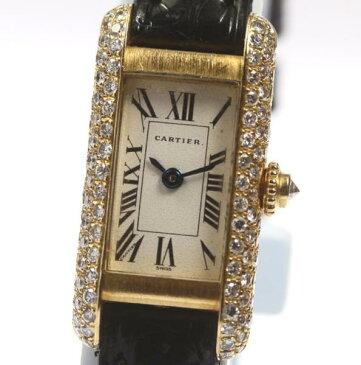 カルティエ タンク アロンジェ アフターダイヤモンドベゼル K18YG QZ レディース腕時計 箱保付【18052】【18101】【中古】