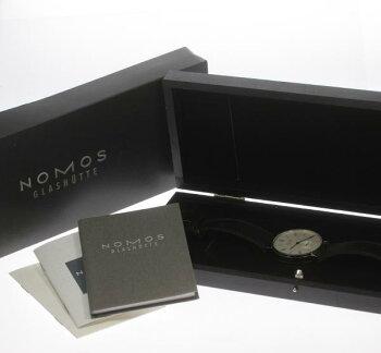 NOMOSノモススモセコ手巻き裏スケ革ベルトメンズ腕時計箱・保◆【】