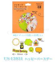 【メッセージフレークシール】【デコレーションシール・蛍光印刷・40ピース】【クローズピンClothesPin】