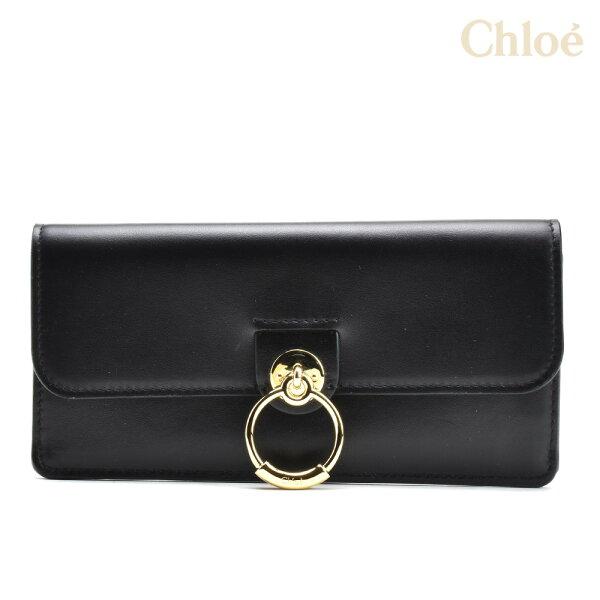 クロエテス二つ折り長財布レディース財布小銭入れ付きブラック黒ChloeTESS