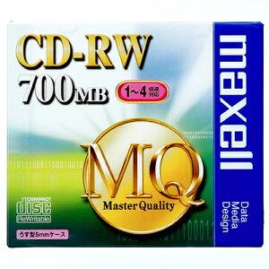 マクセル データ用CD−RW 700MB 4倍速 ブランドシルバー 5mmスリムケース CDRW80MQ.S1P 1枚