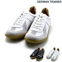 ジャーマントレーナー GERMAN TRAINER 42500 BLACK WHITE スニーカー ローカット トレーニングシューズ ミリタリーシューズ レザースニーカー ブラック ホワイト 黒 白