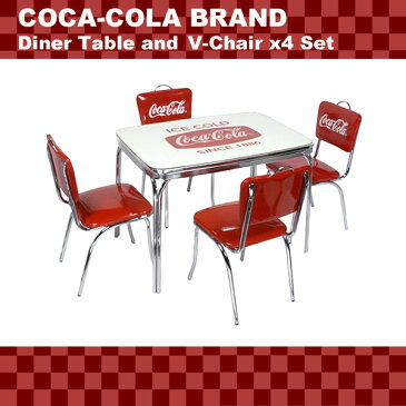 COCA-COLA BRAND コカコーラブランド ダイナーテーブル&Vバックチェア×4脚セット (PJ-600DL PJ-50HC×4 ) インテリア 家具 アメリカ雑貨 アメリカン雑貨