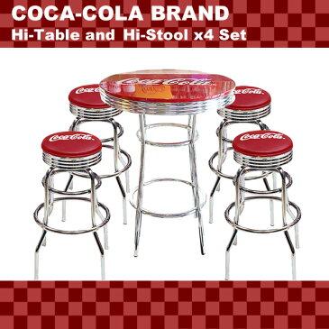 COCA-COLA BRAND コカコーラブランド ハイテーブル&ハイスツール4脚セット (PJ-200T PJ-205S×4 ) インテリア 家具 アメリカ雑貨 アメリカン雑貨