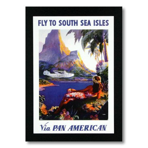 ハワイアンポスター エアラインシリーズ <FLY TO SOUTH SEA ISLES パンアメリカン航空> A-8 アメリカ雑貨 アメリカン雑貨