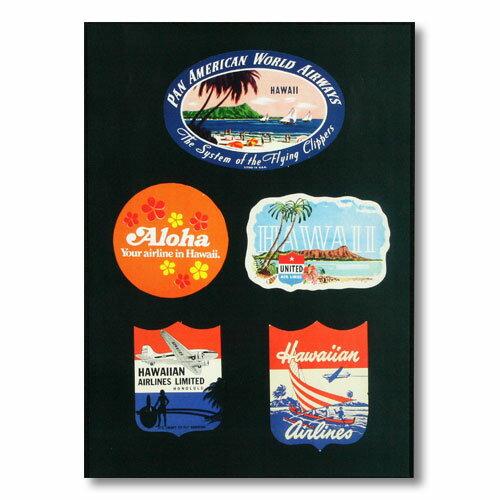 ハワイアンポスター エアラインシリーズ <ステッカーデザイン5種 パンナム アロハ ユナイテッド ハワイアン ハワイアン> A-14 アメリカ雑貨 アメリカン雑貨