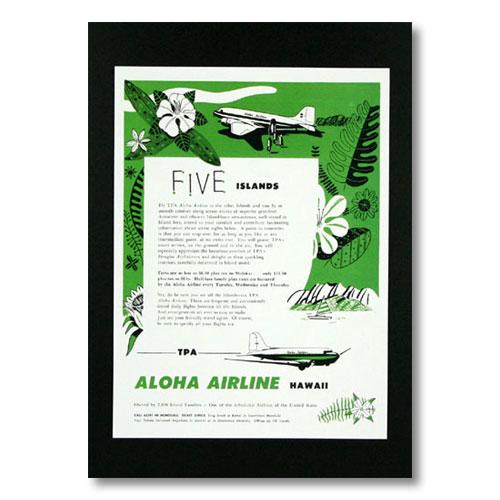 ハワイアンポスター エアラインシリーズ <FIVE ISLAND アロハエアライン> A-28 アメリカ雑貨 アメリカン雑貨