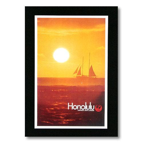 ハワイアンポスター エアラインシリーズ <Honolulu JAL 日本航空> A-30 アメリカ雑貨 アメリカン雑貨