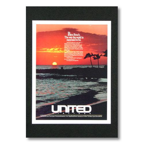 ハワイアンポスター エアラインシリーズ <Poipu Beach ユナイテッド航空> A-29 アメリカ雑貨 アメリカン雑貨