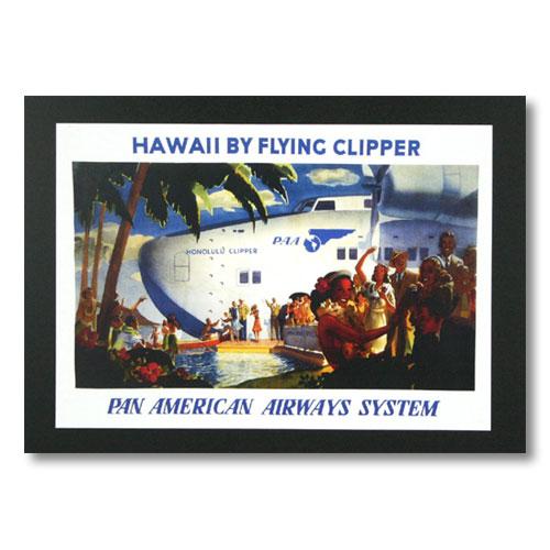 ハワイアンポスター エアラインシリーズ <パンアメリカン航空 HAWAII BY FLYING CLIPPER PAA> A-3 アメリカ雑貨 アメリカン雑貨