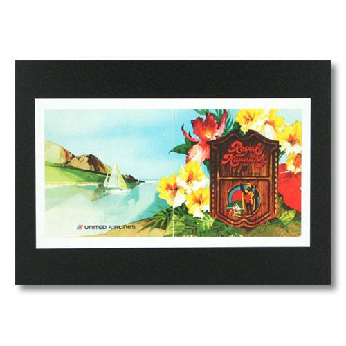 ハワイアンポスター エアラインシリーズ <ユナイテッド航空 × ロイヤルハワイアン> A-2 アメリカ雑貨 アメリカン雑貨