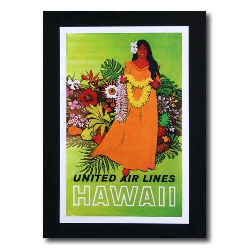 ハワイアンポスター エアラインシリーズ A-39 「ユナイテッドエアライン航空 女の人とレイ」 サイズ:31×20cm アメリカ雑貨 アメリカン雑貨