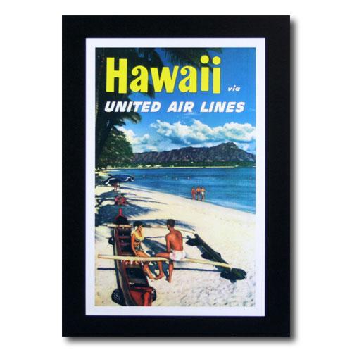 ハワイアンポスター エアラインシリーズ A-40 「ユナイテッドエアライン航空 ビーチ」 サイズ:31×20cm アメリカ雑貨 アメリカン雑貨