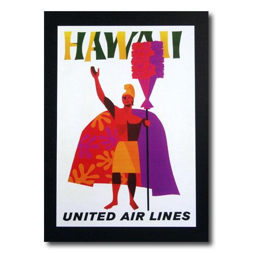 ハワイアンポスター エアラインシリーズ A-41 「ユナイテッドエアライン航空 カメハメハ大王」 サイズ:31×21.5cm アメリカ雑貨 アメリカン雑貨