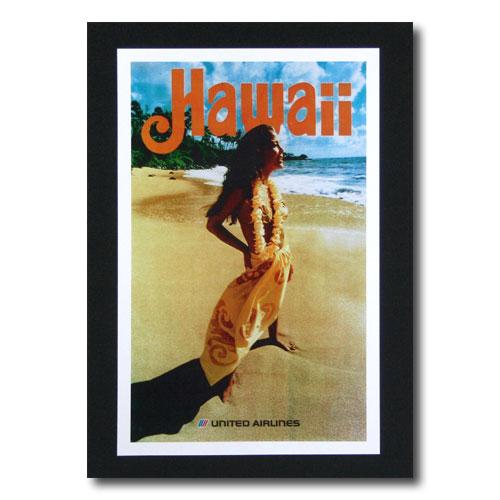 ハワイアンポスター エアラインシリーズ A-45 「ユナイテッドエアライン航空 女の人とビーチ」 サイズ:32×20.5cm アメリカ雑貨 アメリカン雑貨