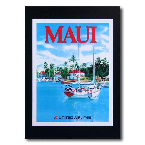 ハワイアンポスター エアラインシリーズ A-48 「ユナイテッドエアライン航空 MAUI」 サイズ:29×21.5cm アメリカ雑貨 アメリカン雑貨