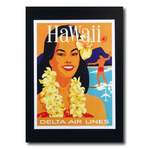 ハワイアンポスター エアラインシリーズ A-57 「デルタ航空 女の人とサーファー」 サイズ:28.5×21.5cm アメリカ雑貨 アメリカン雑貨