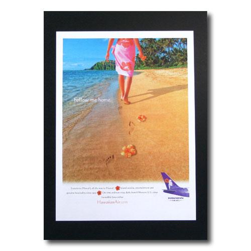 ハワイアンポスター エアラインシリーズ A-60 「ハワイアン航空 Follow me home」 サイズ:29.5×22cm アメリカ雑貨 アメリカン雑貨