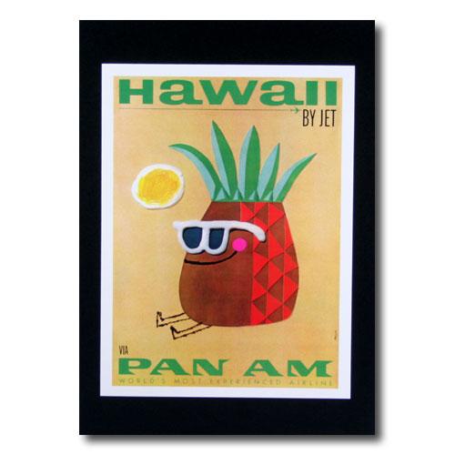 ハワイアンポスター エアラインシリーズ A-36 「パンナム パイナップル」 サイズ:28.5×21.5cm アメリカ雑貨 アメリカン雑貨