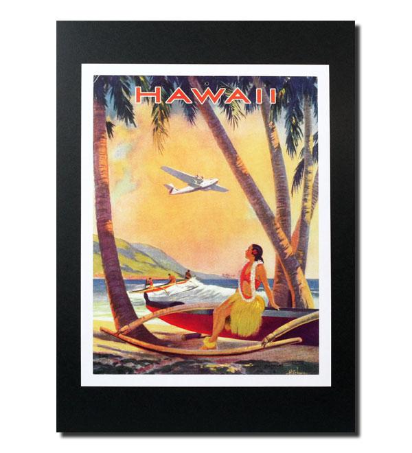 ハワイアンポスター エアラインシリーズ A-56 '40s サイズ:28×21.5cm アメリカ雑貨 アメリカン雑貨