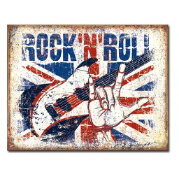 メタルサイン 「Rock'n Roll 」# 2194 ロックンロール 縦31.7×横40.5cm ブリキ看板 アメリカ製 店舗装飾 壁面ディスプレー アメリカ雑貨