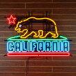 ネオンサイン/CALIFORNIAカリフォルニア州の州旗デザイン【ネオン管、インテリア、ガレージング、アメリカン雑貨】