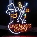 【送料無料】アメリカンネオンサイン <LIVE MUSIC OPEN/ライブミュージック・オープン>サイズ:51×40cm /ネオン管/ガレージング/アメリカン雑貨/