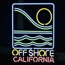 【送料無料】アメリカンネオンサイン <OFF SHORE CALIFORNIA/オフショア カリフォルニア>サイズ:56×40cm 【サーフインテリア、西海岸インテリア/ネオン管/ガレージング/アメリカン雑貨】