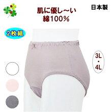ショーツレディース大きいサイズパンツ綿100%日本製レース無し同色2枚組3L4Lビックサイズオフピンクシログレー杢グレー