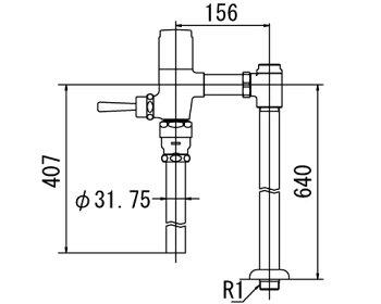 INAXフラッシュバルブ洗浄水量6-8L便器用【CF-T6114HA-C】寒冷地用(節水形)受注生産品