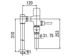 ###【カード対応OK!】INAXフラッシュバルブ洗浄水量6-8L便器用【CF-610BUT-C】低圧用(節水形)受注生産品