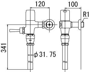 ###【カード対応OK!】INAXフラッシュバルブ洗浄水量6-8L便器用【CF-T6110H-C】寒冷地用(節水形)受注生産品