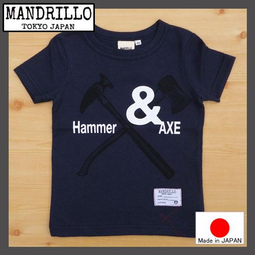 【SALE】国産 MANDRILLO【マンドリル】Hammer&AXE Tシャツ ネイビー100-130cm【チャコール】92016032016新作【ベビー キッズ 動物 アニマル お揃い】ガスバッグ