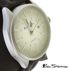 ベンシャーマンBenShermanペイルホワイトグラデーションフェイス腕時計メンズ【送料無料】2013新作モッズファッションラージサークルブルーテキストウォッチアナログウォッチ腕時計本革レザーベルト本革レザーBenShermanUKモッズbs009
