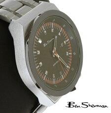 ベンシャーマンBenShermanブラックフェイス腕時計メンズ【送料無料】2013新作モッズファッションラージサークルオレンジラインウォッチアナログウォッチ腕時計ステンレススティールベルトBenShermanUKモッズbs020