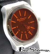 ベンシャーマンBenShermanオレンジフェイス腕時計【送料無料】2012新作モッズファッション本革レザーベルト腕時計アナログウォッチUKモッズr731