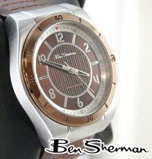 ベンシャーマンBenShermanブラウンフェイス腕時計【送料無料】2012新作メンズモッズファッションブロンズ本革レザーベルトBrownLeatherBelt腕時計アナログウォッチUKモッズ201210r928
