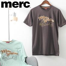 メルクロンドンメンズTシャツタオル地ロゴ+スクータープリントTシャツMercLondon21SS新作2色ダークブラウンシーグリーンレトロギフトトラッド