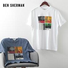 ベンシャーマンメンズTシャツカセットインレイ20SS新作BenSherman2色ライトインディゴホワイトレギュラーフィットプレゼントギフト