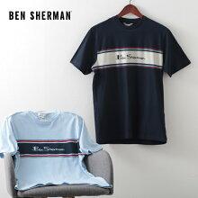 ベンシャーマンメンズTシャツストライプロゴチェスト20SS新作BenSherman2色スカイダークネイビーレギュラーフィットプレゼントギフト