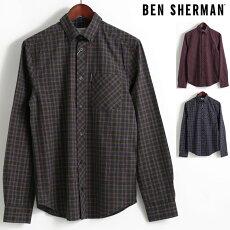 ベンシャーマンBenSherman長袖シャツマールタータンチェック17AW新作3色ダークグリーンワインダークネイビーレギュラーフィットボタンダウンメンズプレゼントギフト