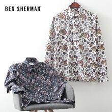 ベンシャーマンメンズ長袖シャツペイズリーマルチ20SS新作BenSherman2色ダークネイビーエクルーレギュラーフィットプレゼントギフト